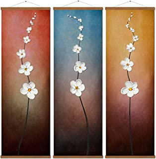 3 Piece Abstract Flowers Print on Canvas Artwork Painting Wooden Ready to Hang Poster for Wall Art Living Room Bedroom Modern Home Decorations Framed