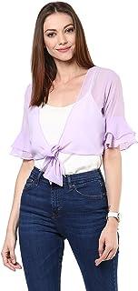 109 F Women Polyester Purple Solid Shrug