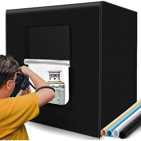 撮影キット SAMTIAN 83x83x83cm 超大型撮影ボックス 4色背景シート(黒、白、オレンジ、青) スタジオボックス プロな撮影セット 超高輝度12000ルーメ126個SMDライト 調光器付き マルチアングル撮影可能 CRI 95以上 折り畳み式 収納便利 組立簡単 携帯可能