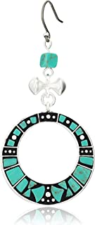 Lucky Brand Turquoise Inlay Statement Drop Earrings, Silver