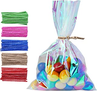 """100 Pack 4"""" x 6"""" Iridescent Holographic Cellophane Party Favor Treat Bags with 5 Colors Twist Ties Good for Themed Celebrations Baby Showers Weddings Girls Birthday Party Supplies (4"""" x 6"""")"""