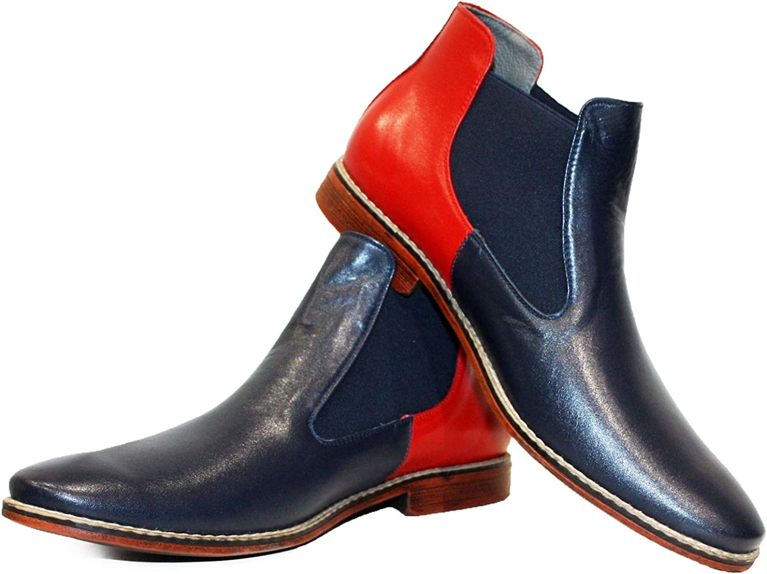 Peppeshoes Modello Rtena - Handmade Italian Leather Mens color Red Ankle Chelsea Boots - Cowhide Smooth Leather - Slip-On
