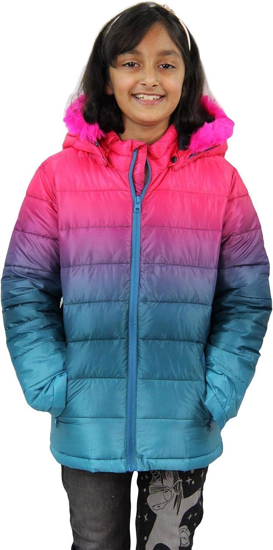 A2Z 4 Kids/® Kids Girls Hooded Jacket Designers Rainbow Faux Fur Parka School Jackets Outwear Coat New Age 2 3 4 5 6 7 8 9 10 11 12 13 Years