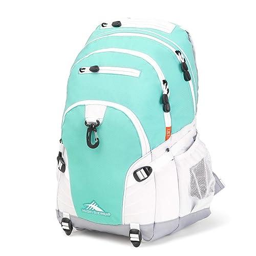 High Sierra Loop Backpack, Aquamarine/White/Ash, 19 x 13.5 x 8.5-Inch