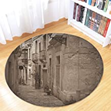 TecBillion Retro Ultra Soft Round Mat,Old Narrow Street of European Town with Classic Stone Buildings Malta Culture Picture for Kitchen Living Room,35.43
