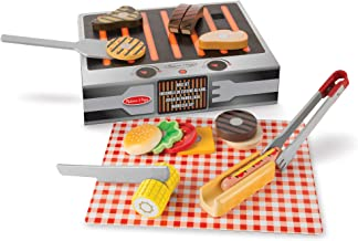 Melissa & Doug Wooden Grill & Serve BBQ Set (Wooden Play Food, 20 Pieces, Great Gift for Girls and Boys - Best for 2, 3, 4, 5 and 6 Year Olds)