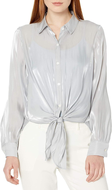 Vince Camuto Women's Button Down Tie Front Iridescent Blouse
