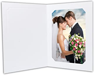 Golden State Art, Acid-Free Photo Folders for 5X7 or 4x6 Picture,Pack of 50 White Cardboard/Paper Frames,Great for Portraits and Photos,Special Events: Graduation,Wedding,Baby Shower,PF033