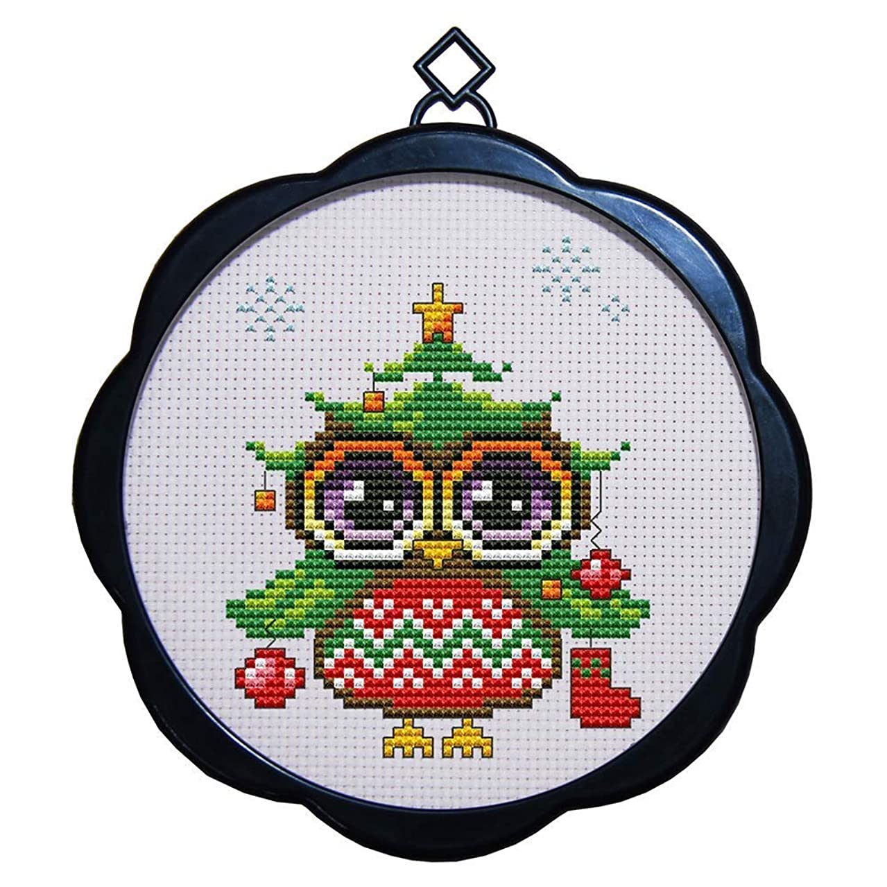 Cross Stitch Stamped Kits Quilt Pre-Printed Patterns Cross-Stitching for Beginner Kids Adults 11CT Embroidery Crafts Needlepoint Starter Kits, Lovely Owl
