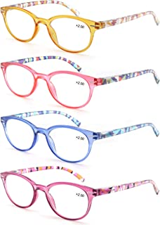 Reading Glasses Women 4 Pack Ladies Readers Spring Hinge Come with Pouch