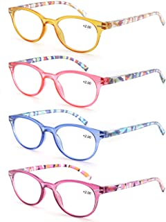 MODFANS Reading Glasses Women 4 Pack Ladies Readers,Spring Hinge Arm Pouch
