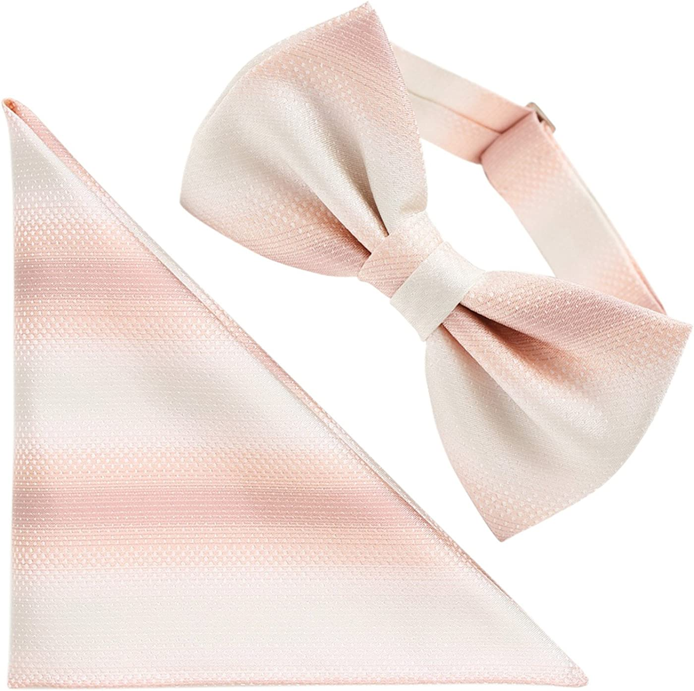 FORTUNA Tokyo Men's Pre-Tied Adjustable Butterfly Bow Tie & Pocket Square Set 100% Silk -12. Horizon- Gradation Pattern Made in Japan
