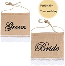 Groom And Bride Chair Burlap Bunting Banner Chair Signs Garland for Vintage Rustic Wedding Decoration and Wedding Photo Props