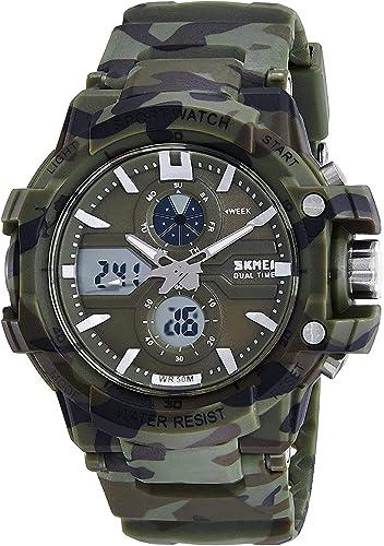 SKMEI Led Light Analog Digital Green Dial Men s Watch 990 Camo