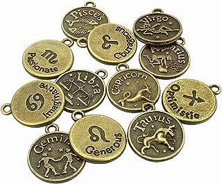 LolliBeads (TM) Jewelry Making Antique Brass Bronze Vintage Style Round Charm Zodiac Set of 12