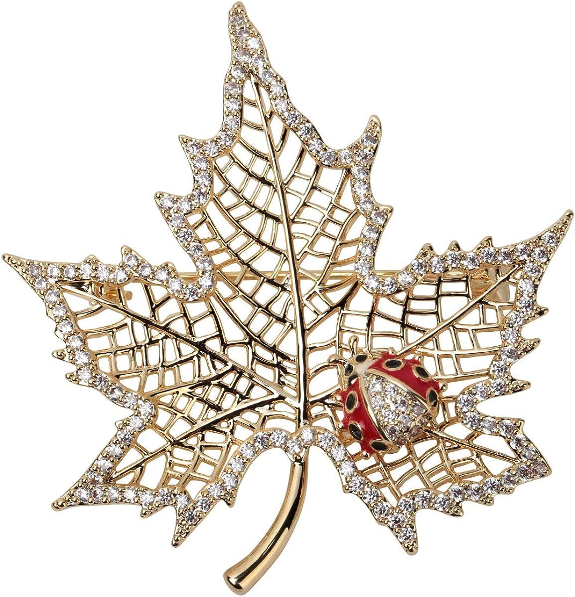 YACQ Women's Ladybug on Maple Leaf Pin Brooch - CZ & Enamel Fall Jewelry - Ultra Light - 2 x 1-3/4 Inches - Scarf Holders - Perfect for Blouse Jacket Coat Handbag