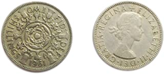 Stampbank Coins for Collectors - Circulated British 1961 Florin / Two Bob Bit / 2 Shillings Coin / Great Britain
