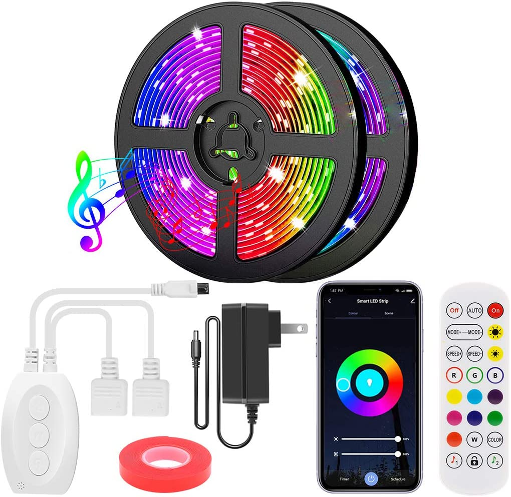 Under blast Bombing free shipping sales Smart Bluetooth LED Strip Lights 40FT Controller App RGB 5 with