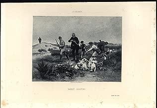 Hunting Rabbits Frantic Dogs Successful 1892 original antique fine art print