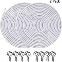 OOTSR [2 Pack] White Curtain Wire, Plastic Coated Window Curtain Wire, Picture Hanging Wire with 8 Pairs of Screw Eyes and Hooks