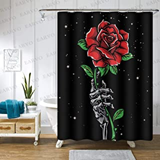 EARVO Red Rose Floral Shower Curtain Skeleton Hand Starry Night Sky Stars Bloody Romance, Cloth Polyester with Hooks 48x72...