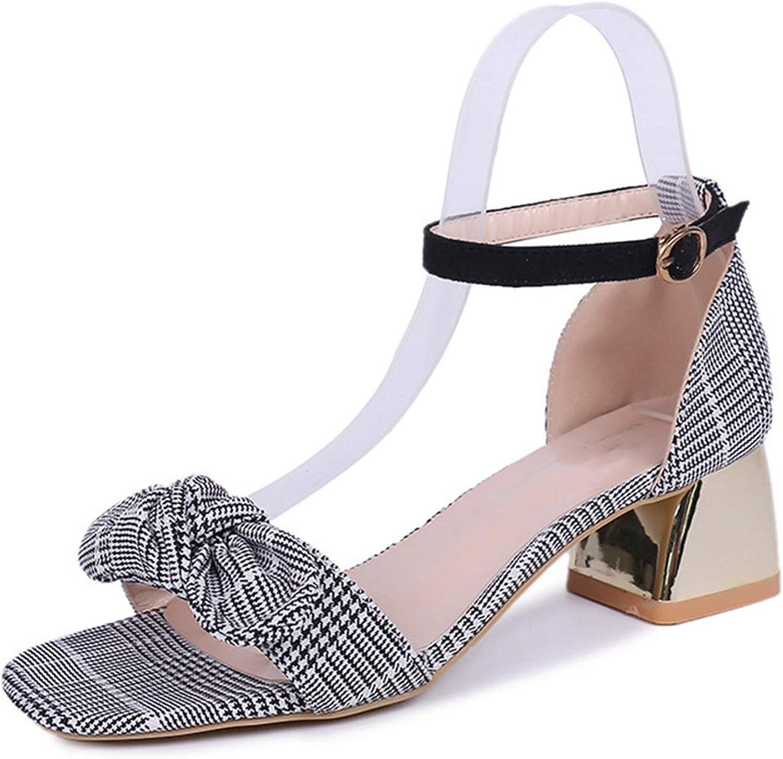 Merry-Heart Summer Womens Buckle Strap Block Heels Sandals Lady Bow Tie,