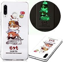 Nadoli Custodia Luminoso per Samsung Galaxy A10S,Divertente Gatto Disegno Morbido Sottile Fluorescente Glow Luminosa Antiu...