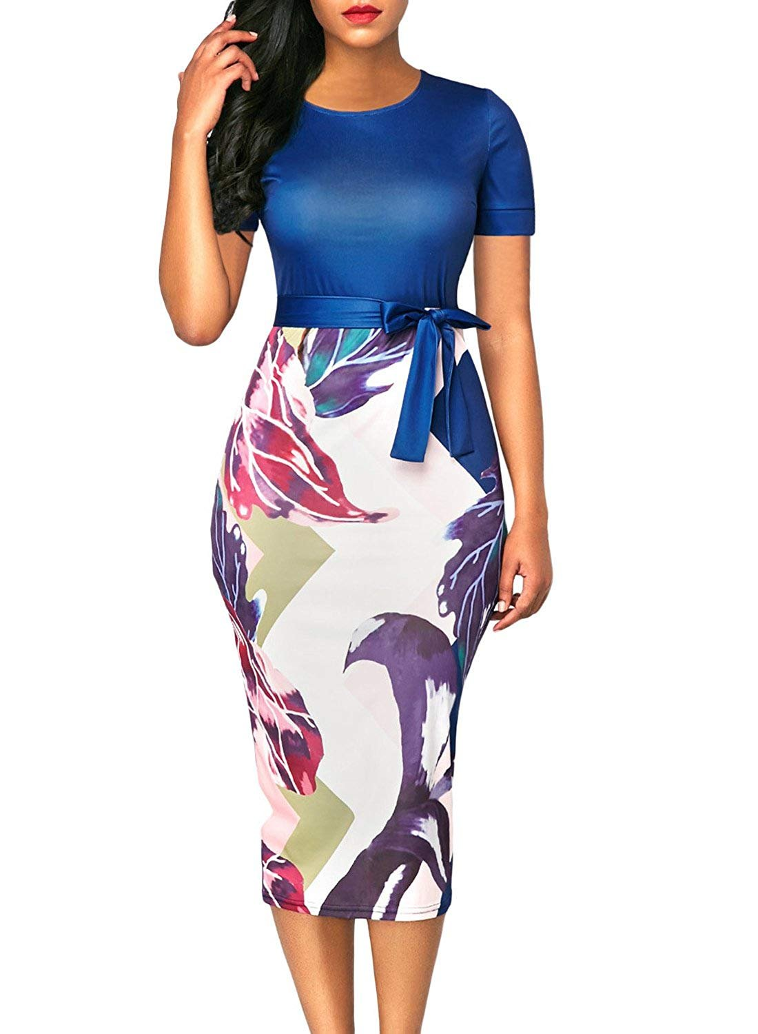 Available at Amazon: Locryz Women Business Wear to Work Short Sleeve Floral Print Bodyon Pencil Dress