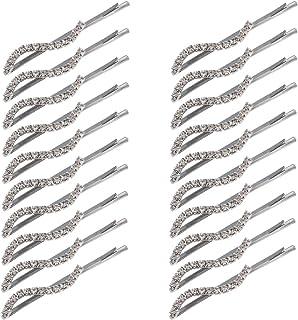 Madholly 20pcs Rhinestone Bobby Pin- Clear Crystal Diamond Bobby Pins Hair Pins for Lady Women Girls Teen Wedding Bridal (...