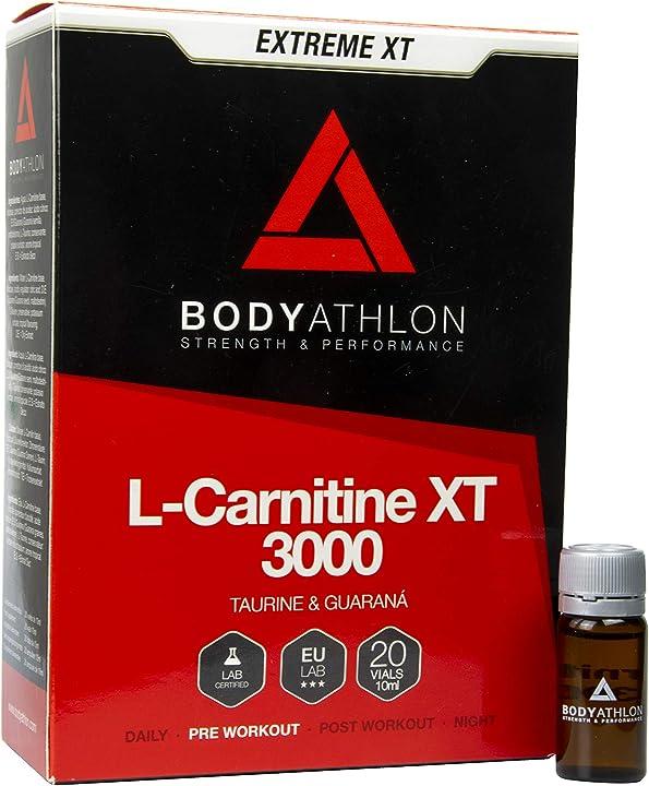L-carnitina liquida xt - 20 fiale 3000 mg - taurina e guaranà bodyathlon - carnitina in fiale bodyathlon 8420496060029
