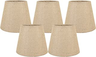 Meriville Set of 5 Natural Burlap Clip On Chandelier Lamp Shades, 4-inch by 6-inch by 5-inch
