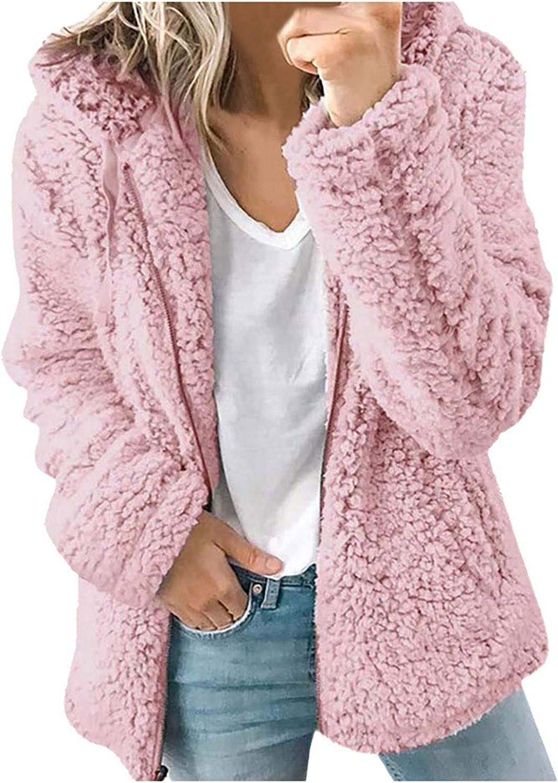 FABIURT Winter Coats for Women Fashion Long Sleeve Fuzzy Fleece Zip Up Hooded Cardigan Jackets Coat Outwear with Pocket