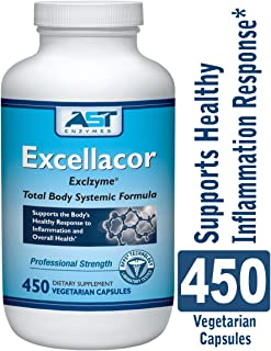 Excellacor – Proteolytic Systemic Enzymes Formula – with Enteric-Coated Serrapeptase - Total Body Support - 450 Vegetarian Capsules - AST Enzymes