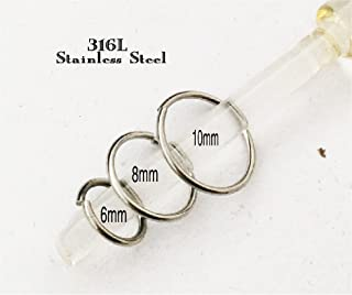 THREE nose rings, surgical steel,continuous, 6mm,8mm,10mm,hoop for lip,eyebrow,body piercing,septum