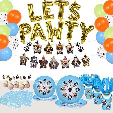 8ct 7 Dog Party Dessert Plates pet birthday party pet party decor vet graduation party puppy party decor animals party supplies