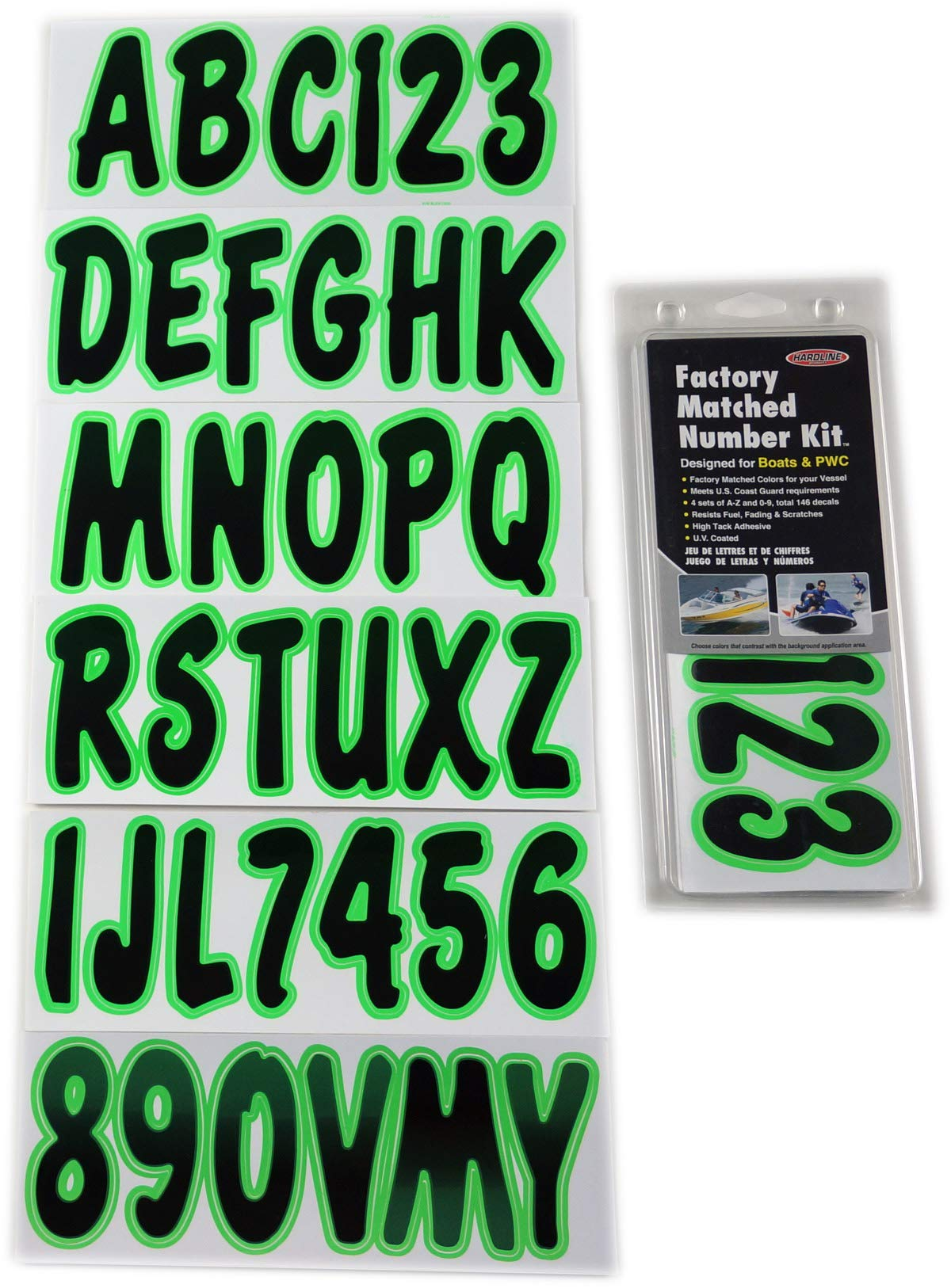 Hardline Factory Matched Number Kit Designed for Boats and PWC Green TEBKG200