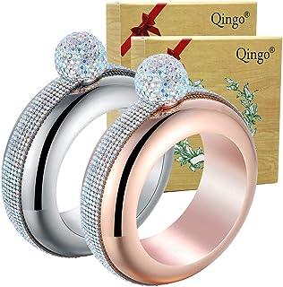 Qingo Bracelet Flask Bangle Creative Stainless 304 Steeland Hip Funnel Set for women 3.5 oz. 2 pcs Crystal Surround (Sliver+Rose Red Crystal Surround) (Sliver+Rose Red)