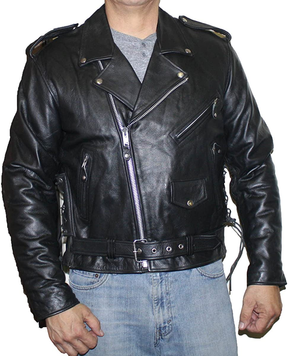 Men's Genuine Buffalo Leather Classic Motorcycle Jacket with Side Laces