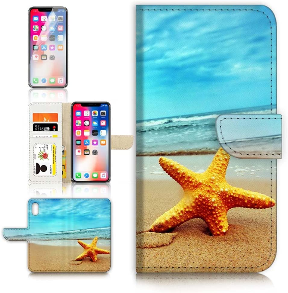 (for iPhone XR) Flip Wallet Case Cover & Screen Protector Bundle - A0021 Beach Sea Starfish