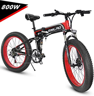 KUDOUT Electric Bike, 800W 21 Speeds 48V 26 inch Fat Tire Mens Mountain E-Bike with Hydraulic Disc Brakes and LCD Display Folding EBike(Removable Lithium Battery)