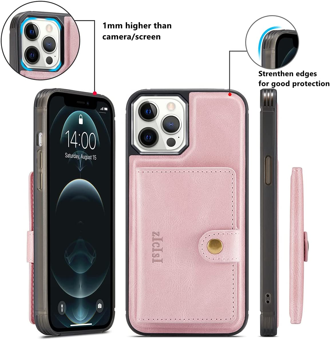 ZICISI Magsafe Leather Case for Apple iPhone 12 pro max with Card Holders for Women Men,Protective Phone Cover with Detachable Magnetic Wallet,Compatible MagSafe Accessories,6.7 inches (Pink)