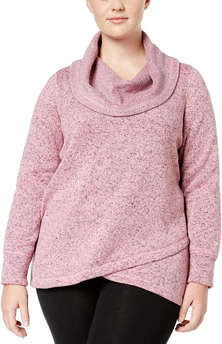 Ideology Plus Size Cowl-Neck Pullover in Sea Pink