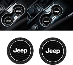 2PCS 2.75 Inch Tough Jeep Logo Vehicle Travel Auto Cup Holder Insert Anti Slip Coaster Can for Jeep Grand Cherokee Wrangler Compass Cherokee Renegade Patriot Grand Comander Decoration.