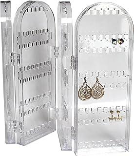 Présentoir à Bijoux Pliable Transparent Acrylique - 28x10,2cm Grand Portant 120 Emplacements pour Boucles d'Oreilles - Pré...