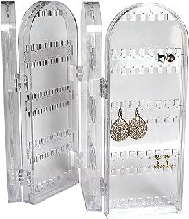 Organizador Joyas Plegable Acrílico Transparente Gabinete por Kurtzy - Exhibidor Alto Pendientes, Collares y Brazaletes - Puede Contener 120 Pares de Pendientes - Diseño Natural