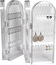 Supporto Organiser Pieghevole in Acrilico Trasparente per Gioielli - Espositore Alto per Orecchini, Collane e Bracciali - Contiene fino 120 paia di orecchini - Design Naturale