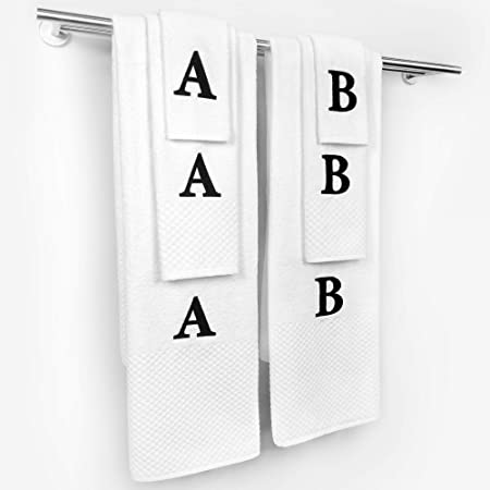 Amazon Com Kaufman Personalized Milan 3 Piece Bath Towel Hand Towel Washcloth White Towel Set With Monogrammed Letter 100 Cotton For Bathroom Kitchen And Spa 3 Home Kitchen