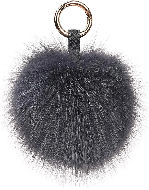 Genuine Fox Fur Pom Pom Keychain Bag Purse Charm large Fluffy Fur Ball Keychains