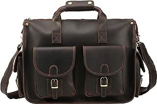 Vintage Business Travel Leather Briefcase Messenger bag 15.6 inch Laptop Satchel