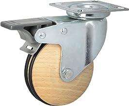 Dörner + helm 771212 zwenkwiel GEO hout ø 75 mm, hoogte 101 mm, beuken gedempt met rem